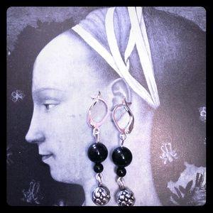 Onyx Dangle Leverback Earrings